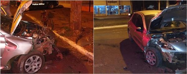Após falha mecânica, motorista perde controle da direção e atinge árvore na Dorvalino