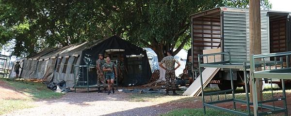 Militares começam montar acampamento e iniciam treinamento nesta segunda-feira