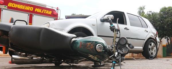Motociclista fratura perna em acidente na Mato Grosso