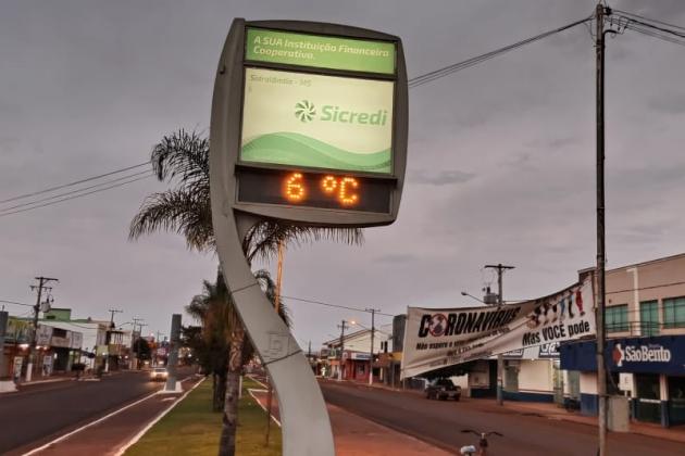 Temperatura despenca e Sidrolândia registra madrugada mais fria do ano