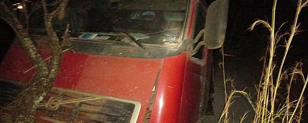 Motorista sai da pista e bate carreta carregada de calcário em árvore na BR-060