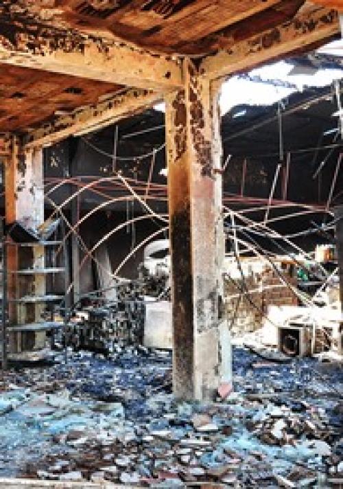 Incêndio deixa cenário de destruição no centro de Sidrolândia