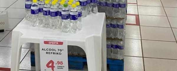 Em falta no mercado, álcool 70 chega na Nutrishopping, mas estoque está acabando novamente