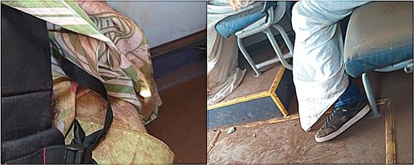Alunos se enrolam em lençol para se proteger da poeira em ônibus escolar