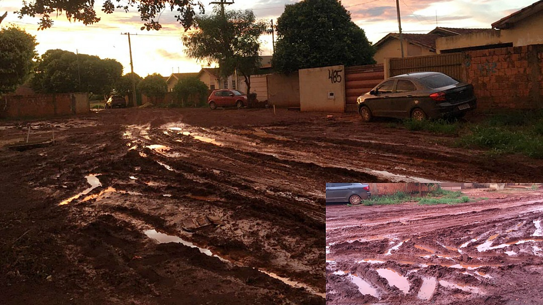 Prefeita visita bairros sem asfalto durante chuvarada e constata precariedade de ruas e lamaçal