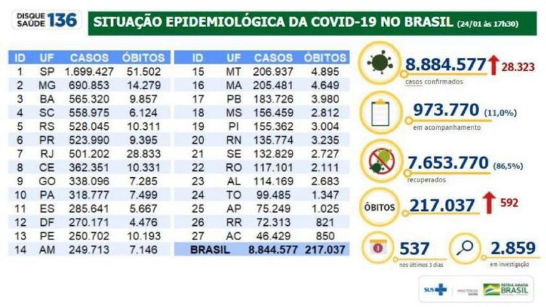 Covid-19: mortes ultrapassam 217 mil e casos somam 8,8 milhões no país