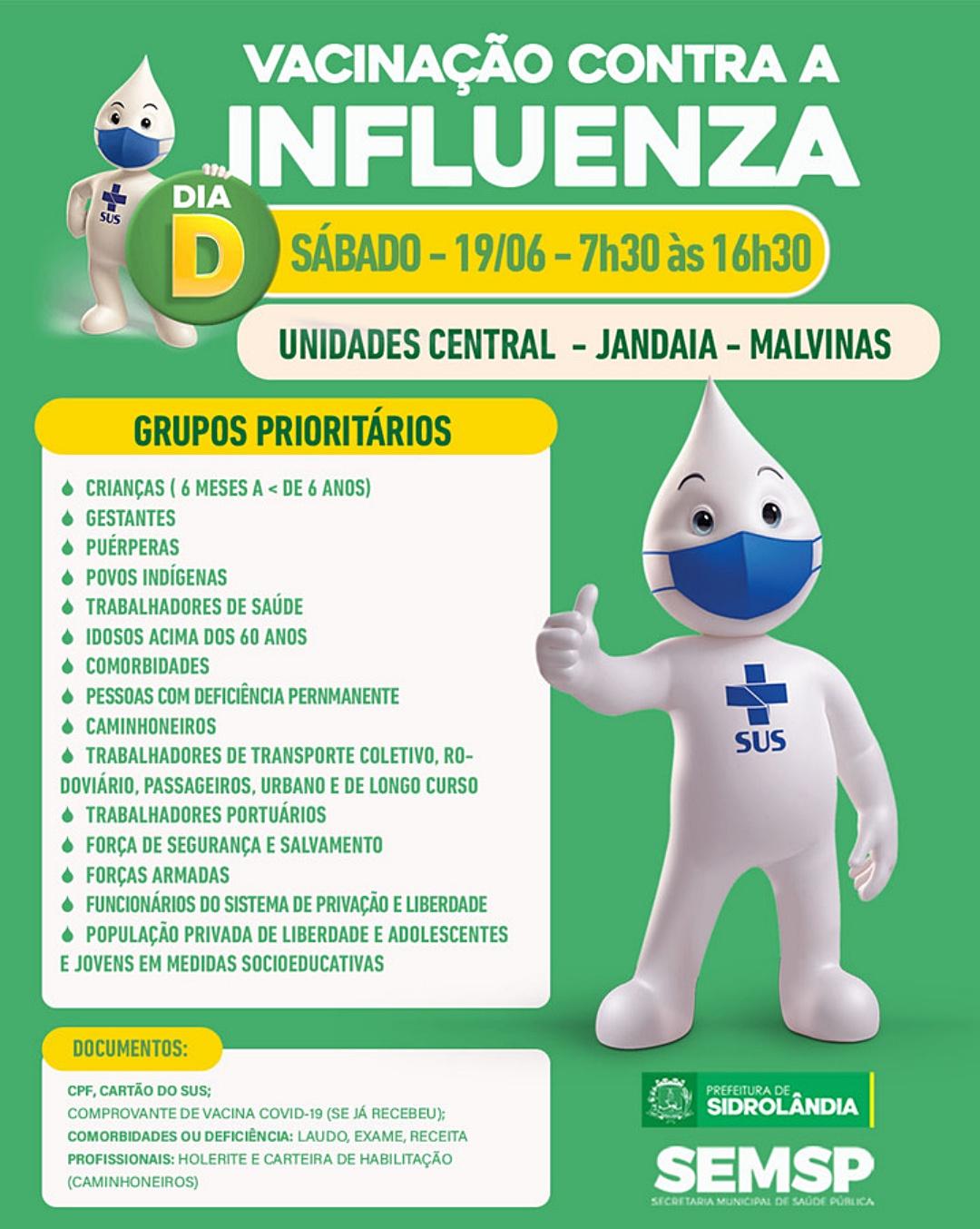 Sidrolândia tem dia D de vacinação contra Influenza neste sábado