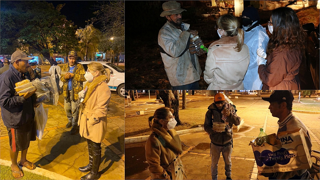 Assistência Social faz blitz noturna, oferece sopa e cobertor para moradores de rua