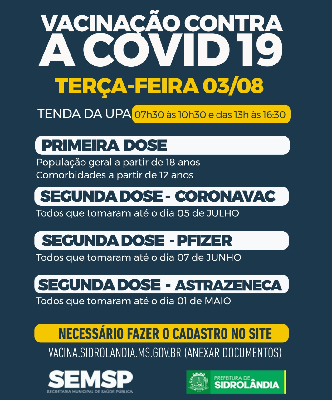 Saúde faz mutirão nesta terça-feira da 1ª e 2ª dose da CoronaVac, Pfizer e Astrazeneca