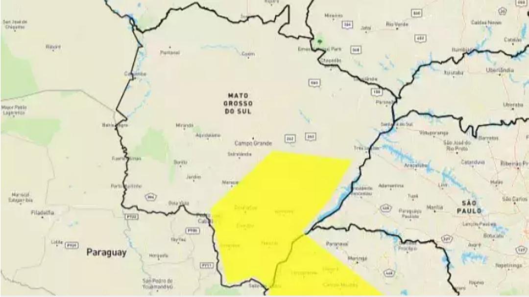 MS tem alerta de tempestade e queda de granizo em 42 cidades