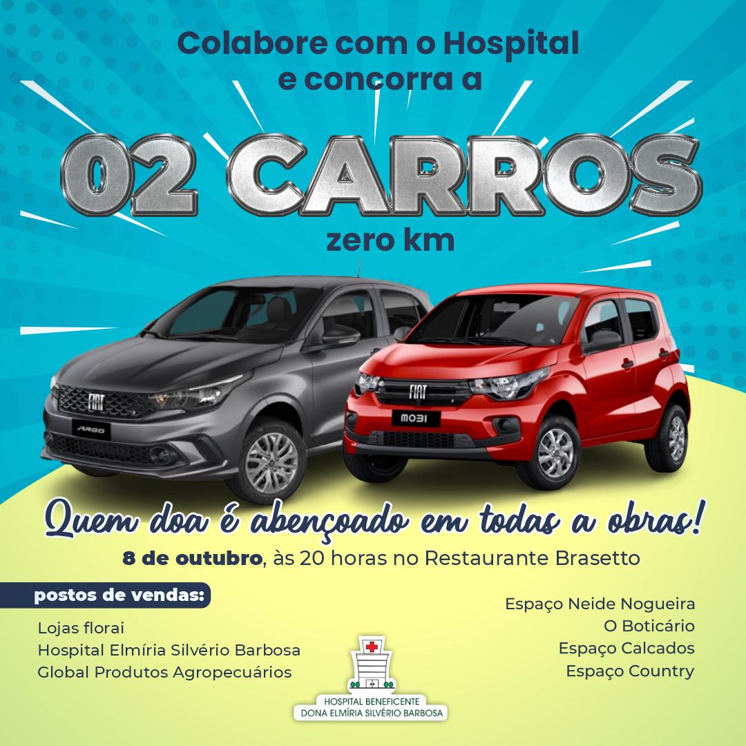 Ação com sorteio de dois carros zero km em prol do hospital já tem 65% dos números vendidos; veja como comprar