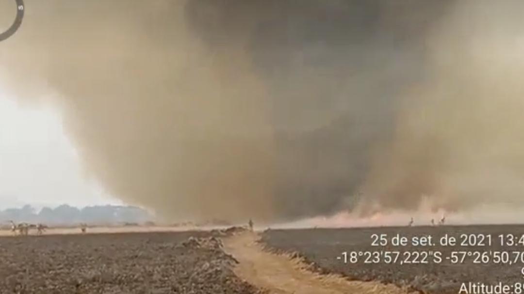 Veja vídeos do redemoinho de fogo em fazenda de Corumbá